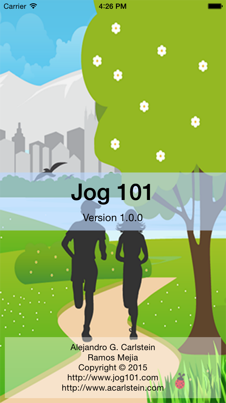 Jog 101 Splash image on iOS